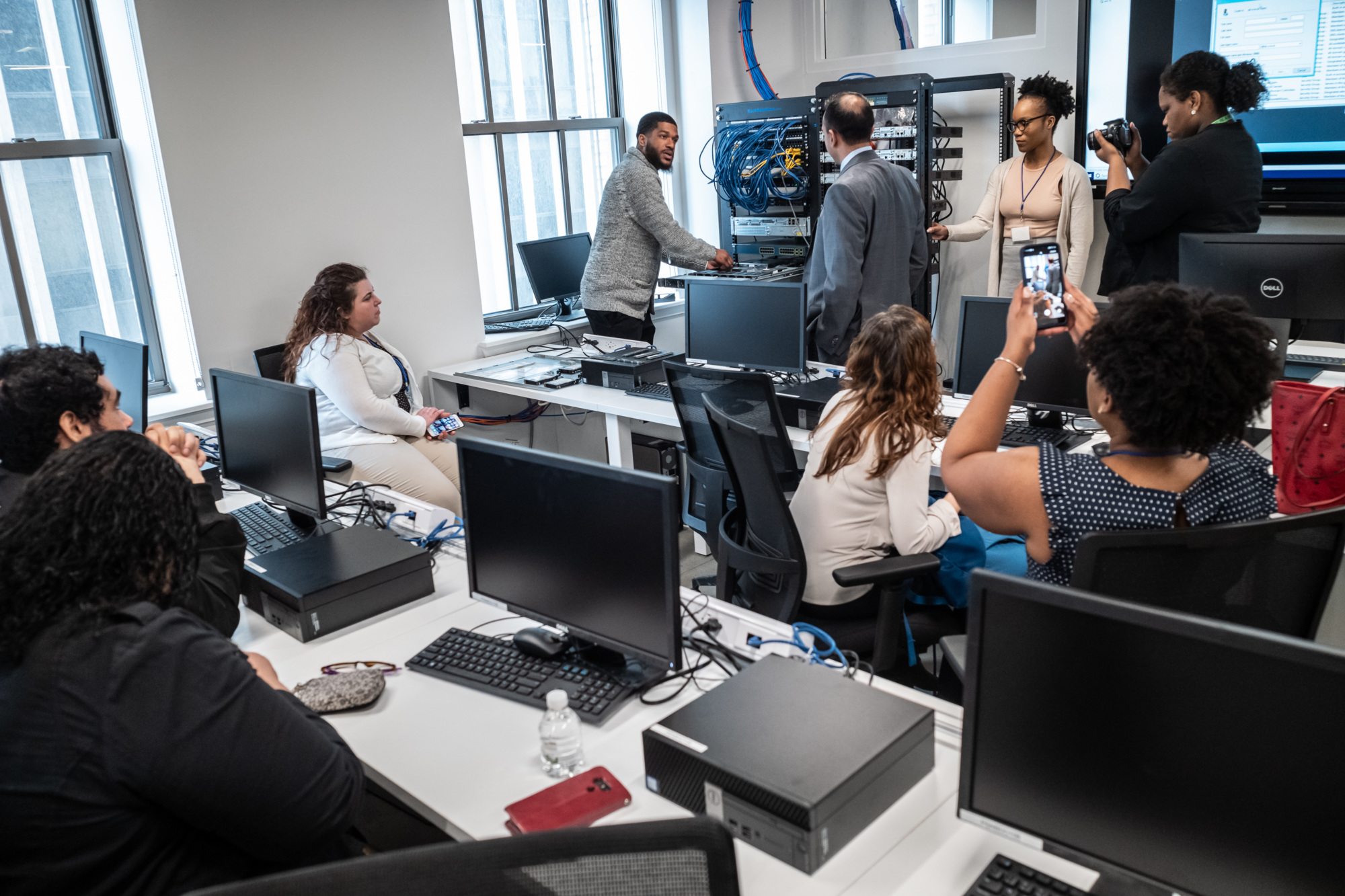 Guests attended tech demonstrations in Per Scholas Newark's state of the art classrooms at the grand opening celebration in 2019.